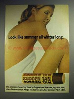 1973 Coppertone Sudden Tan Bronzing Foam Ad!