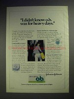 1979 Johnson's o.b. Tampon Ad - For Heavy Days
