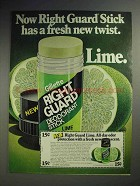 1979 Right Guard Lime Stick Deodorant Ad - Fresh Twist