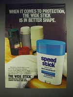 1983 Mennen Speed Stick Ad - Wide Is Better Shape