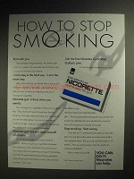 1996 Nicorette Nicotine Gum Ad - How to Stop Smoking