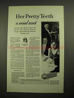 1928 Colgate's Ribbon Dental Cream Toothpaste Ad - Her Pretty Teeth