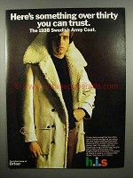 1970 h.i.s. 1938 Swedish Army Coat Ad - You Can Trust