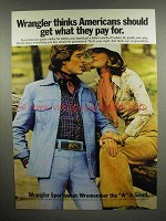 1975 Wrangler Sportswear Clothes Ad - Americans Should Get What They Pay For