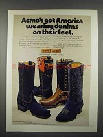 1974 Acme Western Boots, Dingo Boots Ad - Denims