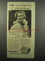 1938 Camay Soap Ad - I Do Says This California Bride