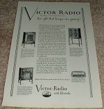 1929 Victor Radio Ad, RE-45, R-52, R-32 NICE!