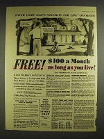 1941 Ivory Soap Ad - Free $100 a Month as Long as Live