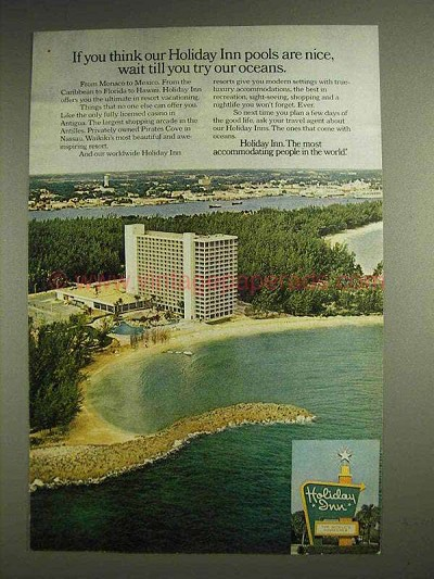 1974 Holiday Inn Motel Ad - Till You Try Our Oceans