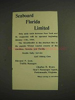 1904 Seaboard Florida Limited Train Ad