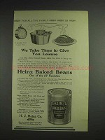 1914 Heinz Baked Beans Ad - We Take Time