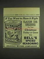 1914 Bell's Spiced Seasoning Poultry Season Ad - Flavor the Dressing