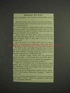 1914 Grape-Nuts Cereal Ad - Afraid to Eat