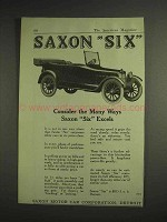 1917 Saxon Six Car Ad - Consider The Ways Excels