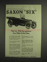 1917 Saxon Six Car Ad - Will Out-Perform Any Other