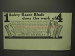 1917 Three-in-One Oil Ad - 1 Razor Does Work of 4