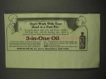 1917 3-in-One Oil Ad - Don't Work In a Dust Bin