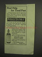 1917 Absorbine, Jr Liniment Ad - Help for Tired Feet