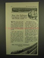1918 Pullman Railroad Car Ad - Handles The Peak Load