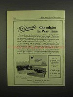 1918 Whitman's Nuts Chocolate Covered Ad - In War Time