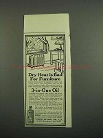 1918 3-in-One Oil Ad - Dry Heat is Bad for Furniture