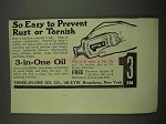 1918 3-in-One Oil Ad - Easy to Prevent Rust or Tarnish
