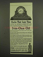 1918 3-in-One Oil Ad - Clocks That Lose Time