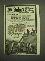 1918 St. John's Military Academy Ad - Wall Scaling