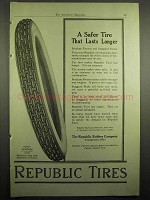 1918 Republic Tires Ad - A Safer Tire That Lasts Longer