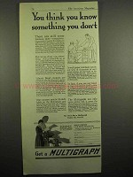 1918 Multigraph Ad - You Think You Know Something