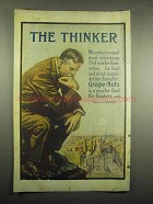 1918 Grape-Nuts Cereal Ad - The Thinker