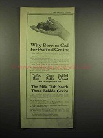 1918 Quaker Cereal Ad - Puffed Rice, Wheat, Corn Puffs - Berries Call For