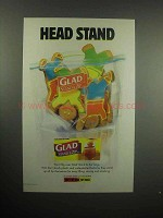 2001 Glad Stand & Zip Bag Ad - Head Stand