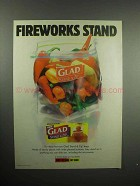 2000 Glad Stand & Zip Bag Ad - Fireworks Stand