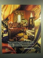 1989 Schumacher Fabrics Wallcoverings Floorcoverings Ad
