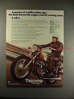 1972 Triumph Bonneville Motorcycle Ad - Winning Races!!