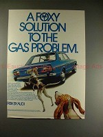 1973 Audi Fox Car Ad - A Foxy Solution to Gas Problem!!