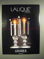 1988 Lalique St. Francois Crystal Candlestick Ad