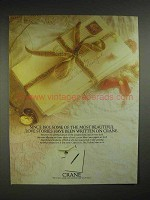 1988 Crane Paper Ad - Since 1801 Beautiful Love Stories
