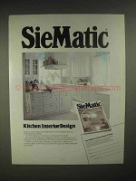 1986 SieMatic 1001 KL kitchen Cabinets Ad