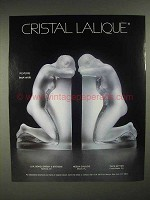 1986 Lalique Reverie Book Ends Crystal Cristal Ad