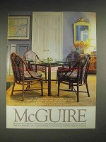 1985 McGuire Furniture Ad - Table and Chairs
