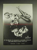1985 Baccarat Crystal Elephant, Dolphin, Camel Ad