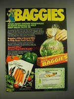 1980 Twist Tie Baggies Storage Ad - Home Vegetables