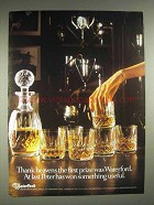 1980 Waterford Crystal Decanter, Glasses Ad