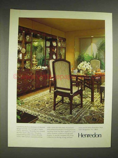 1979 Henredon Pan Asian Collection Furniture Ad