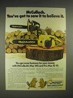 1978 McCulloch Mac 140, Pro Mac 10-10 chainsaw Ad - Saw it To Believe It