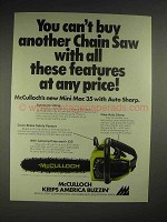 1976 McCulloch Mini Mac 35 chainsaw Ad - Features