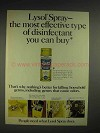 1975 Lysol Disinfectant Spray Ad - Most Effective
