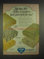 1974 Spring Air Mattress Ad - Just Right for You